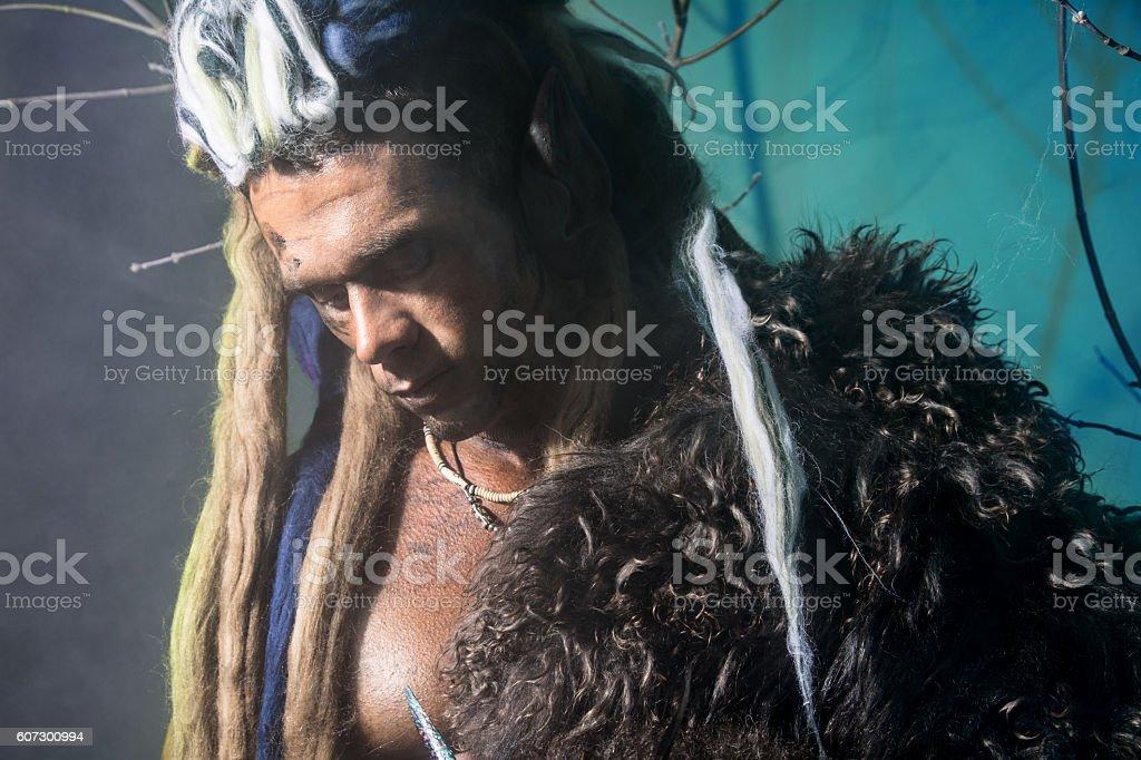 Portrait of pensive man werewolf stock photo