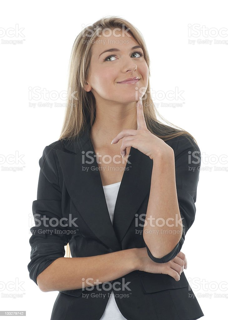 Portrait of pensive young business woman royalty-free stock photo