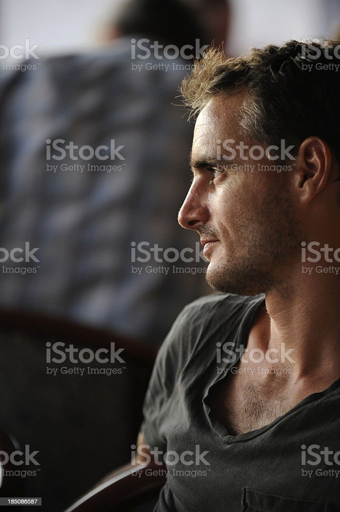 Portrait of pensive young man royalty-free stock photo