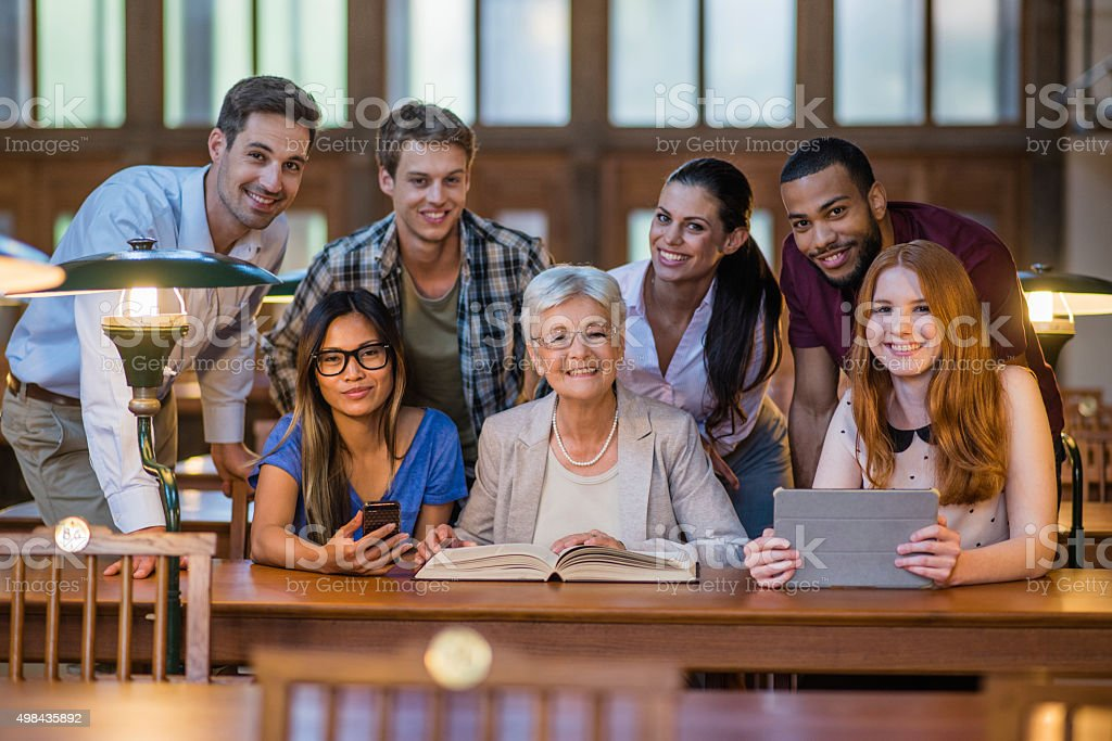 Portrait of people in library stock photo