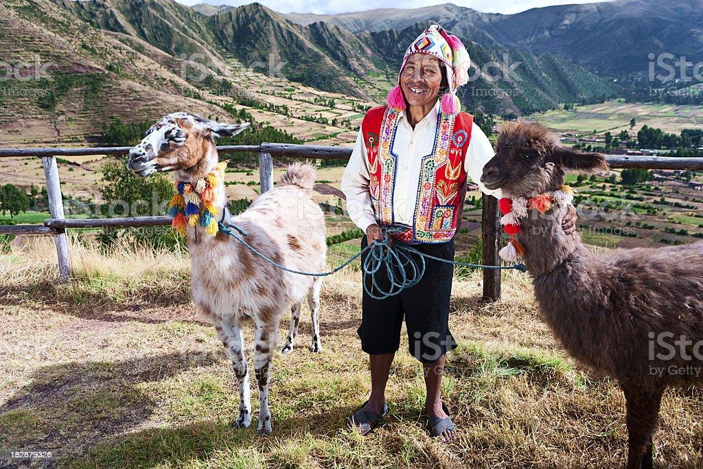 Portrait of Peruvian man near Pisac, Sacred Valley, Peru stock photo