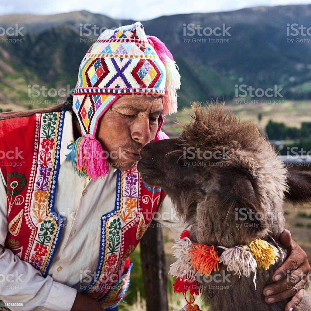Portrait of Peruvian man near Pisac, Sacred Valley, Peru royalty-free stock photo