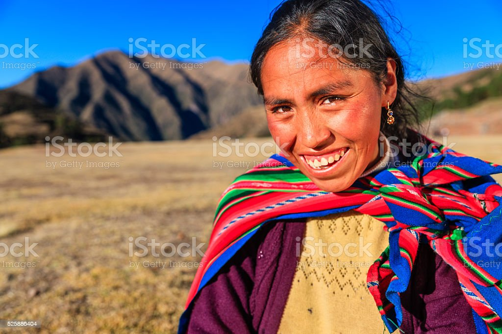 Portrait of Peruvian woman in national clothing, The Sacred Valley stock photo