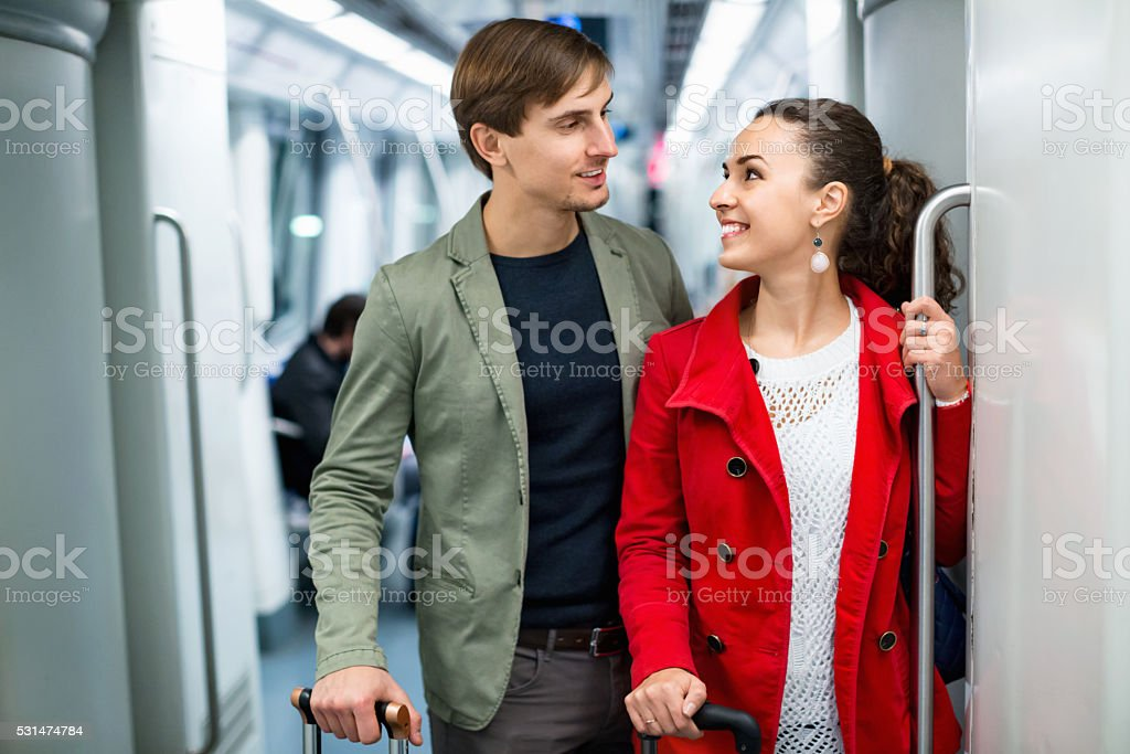 Portrait of playful young people making acquaintance stock photo