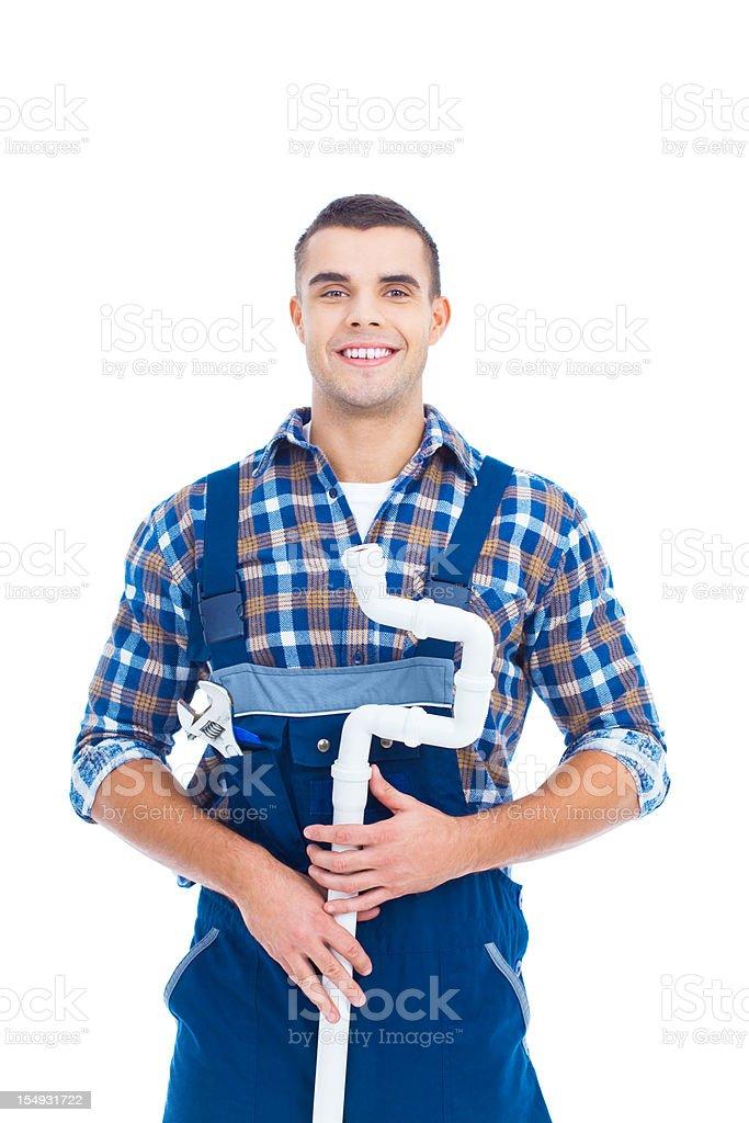 Portrait of plumber stock photo