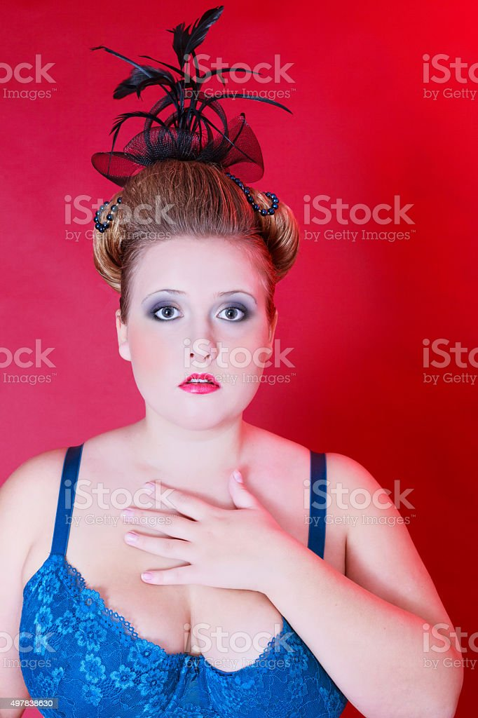 Portrait of Plus Size Models with elaborate hairstyle stock photo
