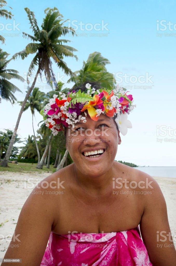 Portrait of Polynesian Pacific Island Tahitian mature woman Aitutaki Lagoon Cook Islands stock photo