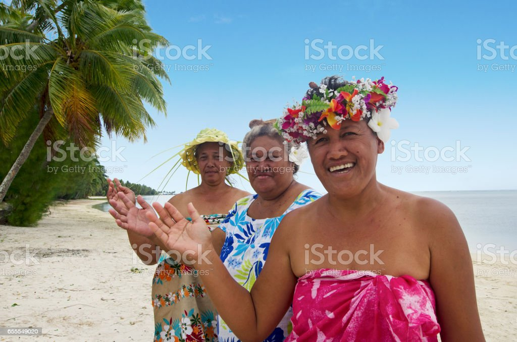 Portrait of Polynesian Pacific Island Tahitian mature woman Aitutaki Lagoon Cook Islands stock photo