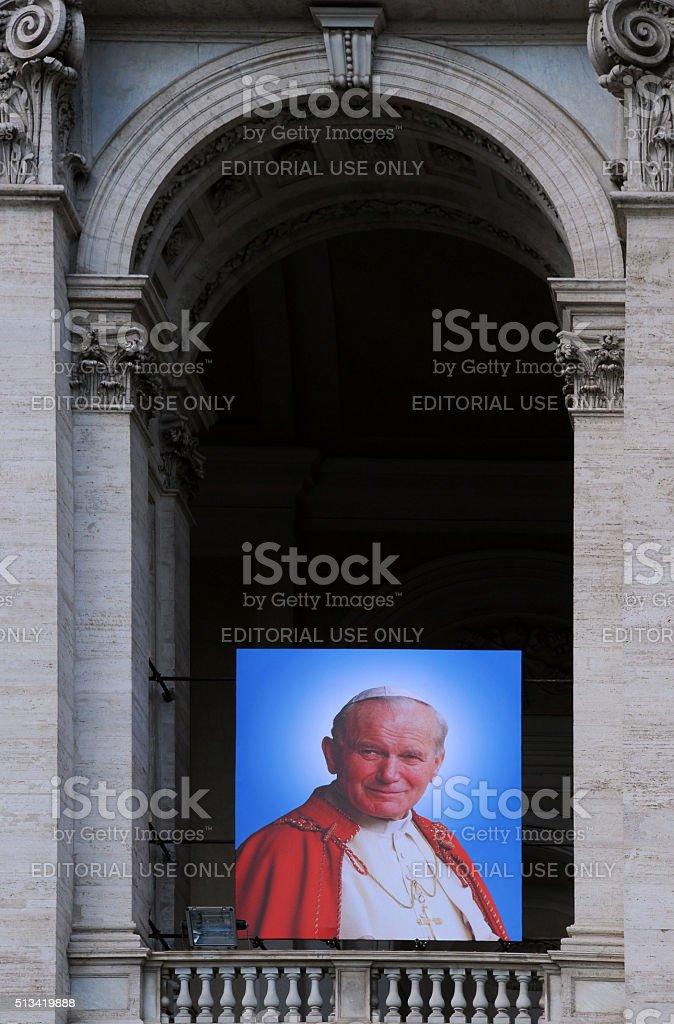 Portrait of Pope John XXIII on Basilica stock photo