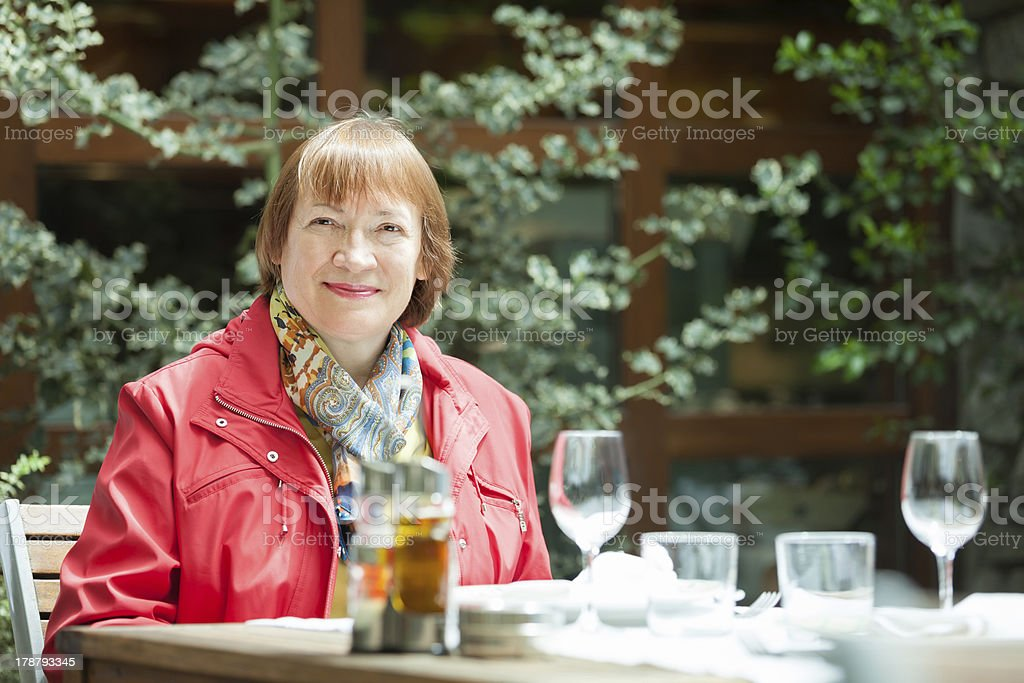 Portrait of positive mature woman royalty-free stock photo