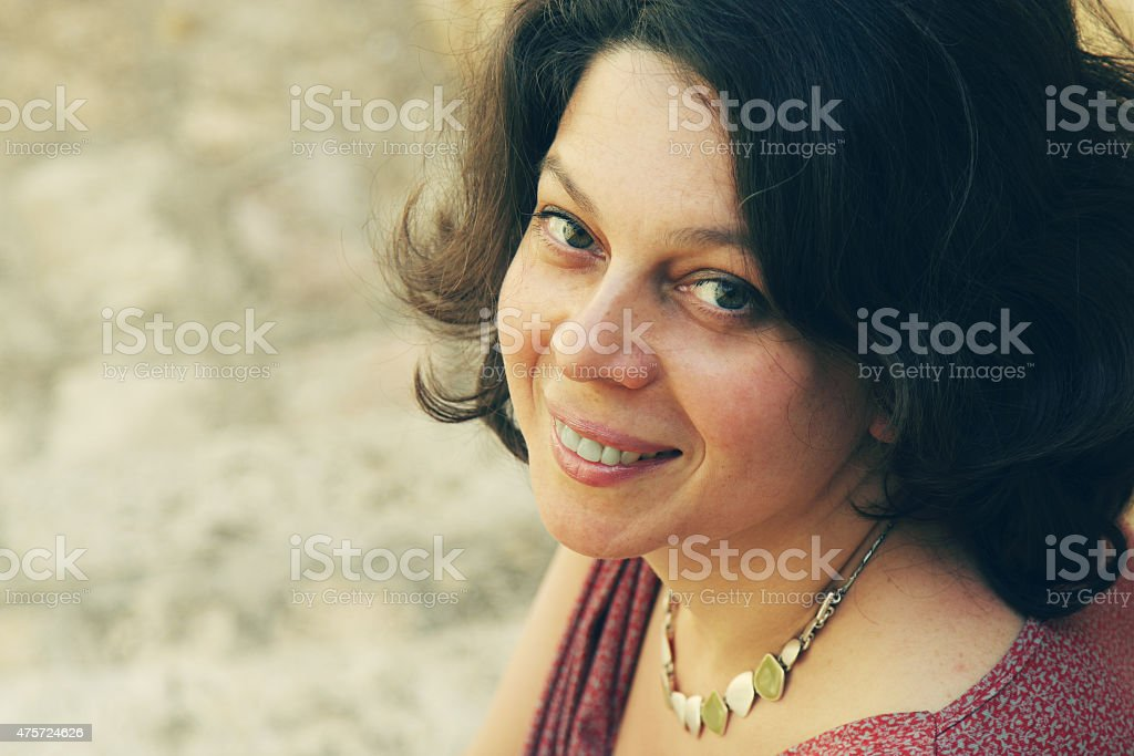 Portrait of pretty 40 years old woman stock photo