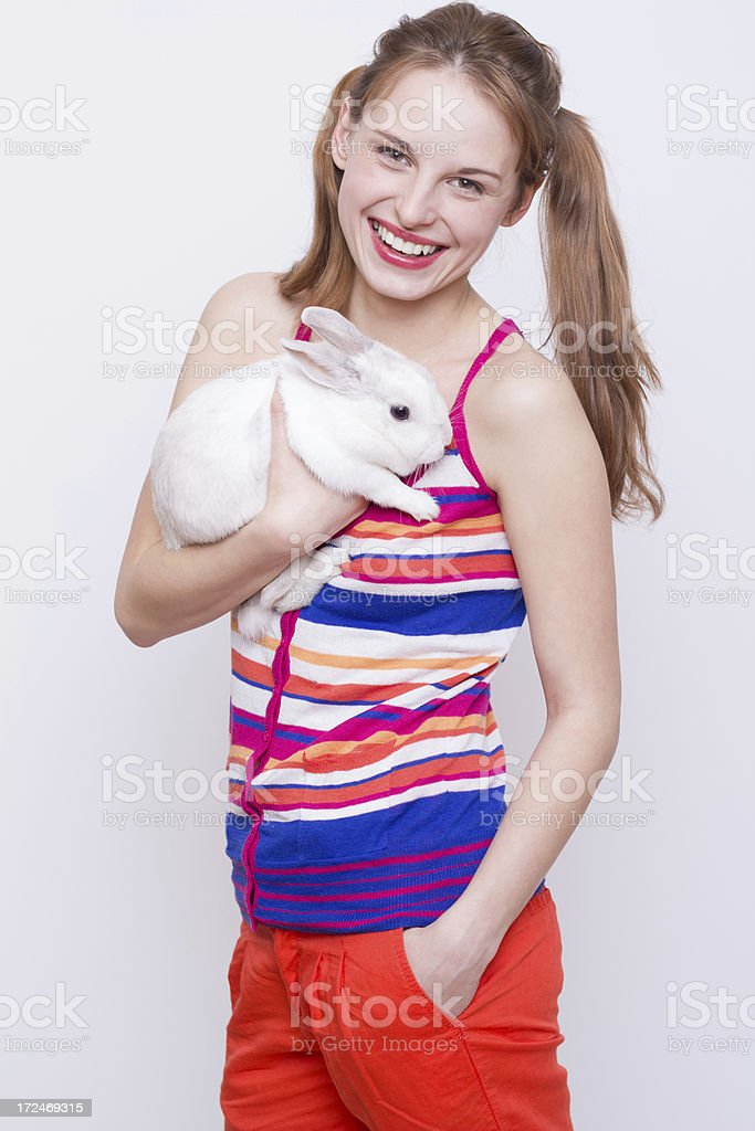 Portrait of pretty girl with a rabbit royalty-free stock photo