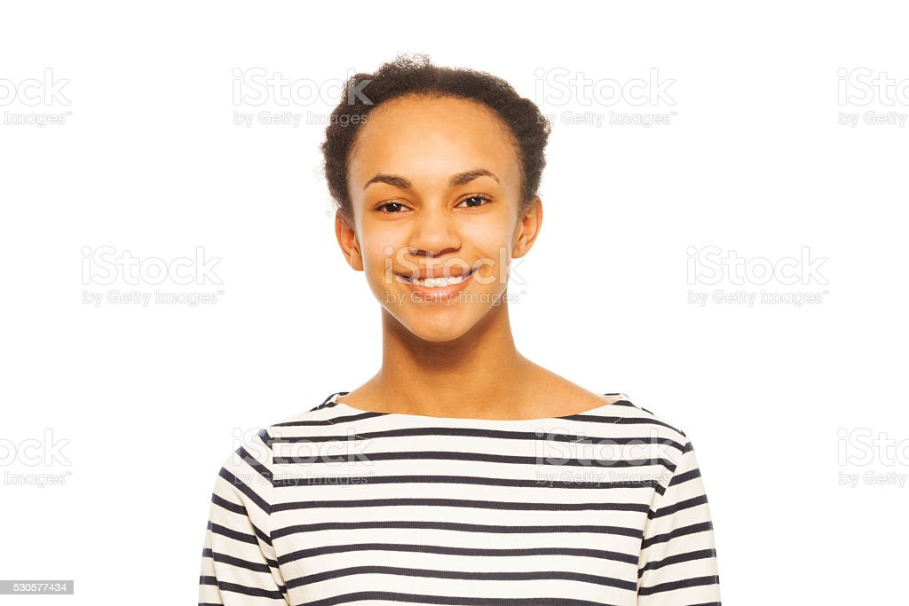 Portrait of pretty smiling African teenager stock photo