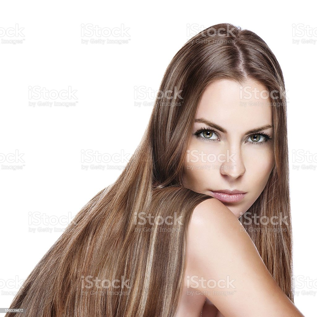 Portrait of pretty young smiling woman with straight long hair royalty-free stock photo