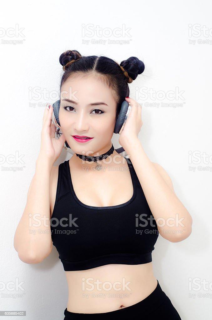 Portrait of pretty young women stock photo