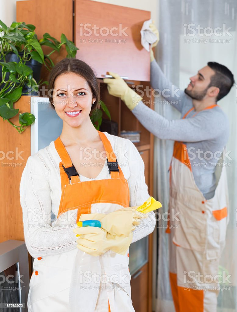 Portrait of professional cleaners stock photo
