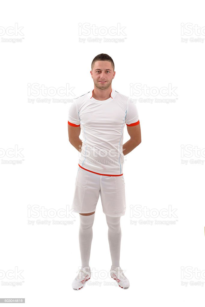 Portrait of professional soccer player. Isolated on white stock photo