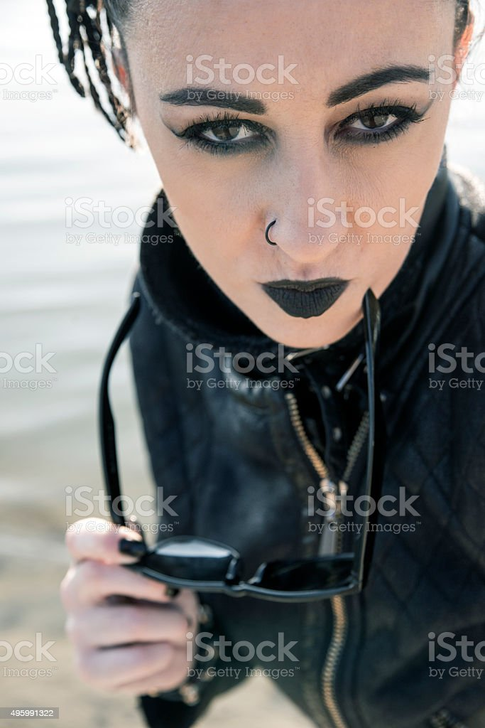 Portrait of punk girl stock photo