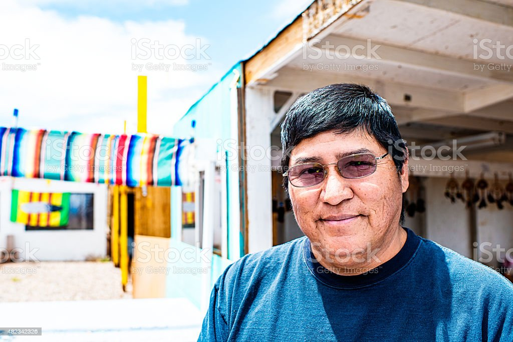 Portrait of real Navajo man stock photo