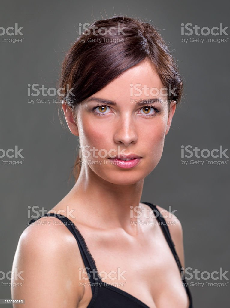 Portrait of real woman stock photo