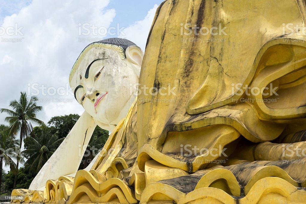 Portrait of reclining mya tha lyaung buddha stock photo