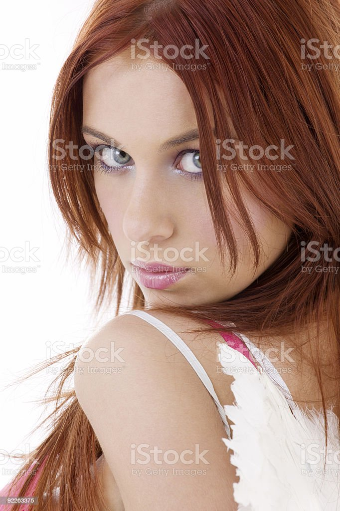portrait of redhead angel royalty-free stock photo