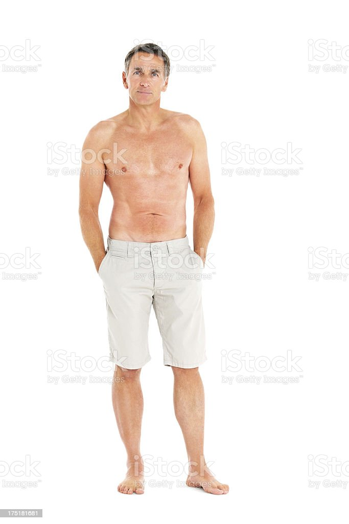 Portrait of relaxed shirtless senior man stock photo