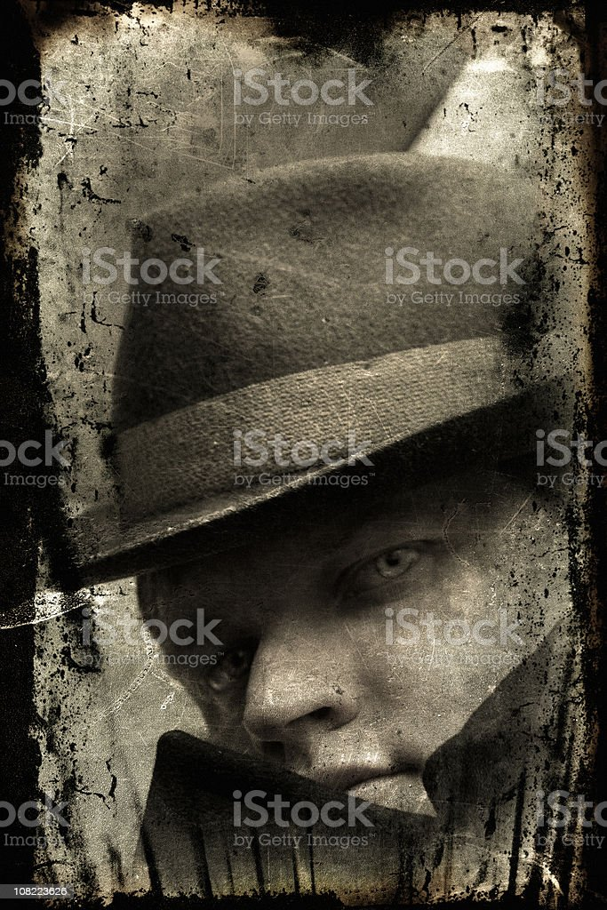 Portrait of Retro Gangster Man, Black and White royalty-free stock photo