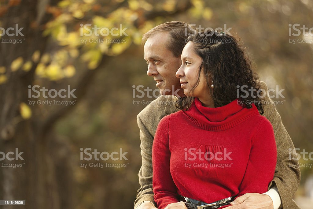 Portrait of Romantic Couple in Autumn Color Hz royalty-free stock photo