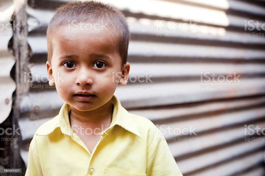 Portrait of Rural Indian Child Boy Natural Light Horizontal stock photo