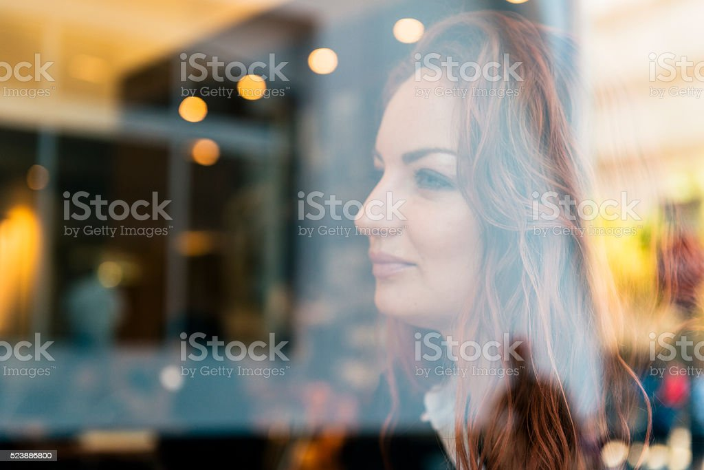 Portrait of Russian Business Woman with Window Reflections in Miami stock photo