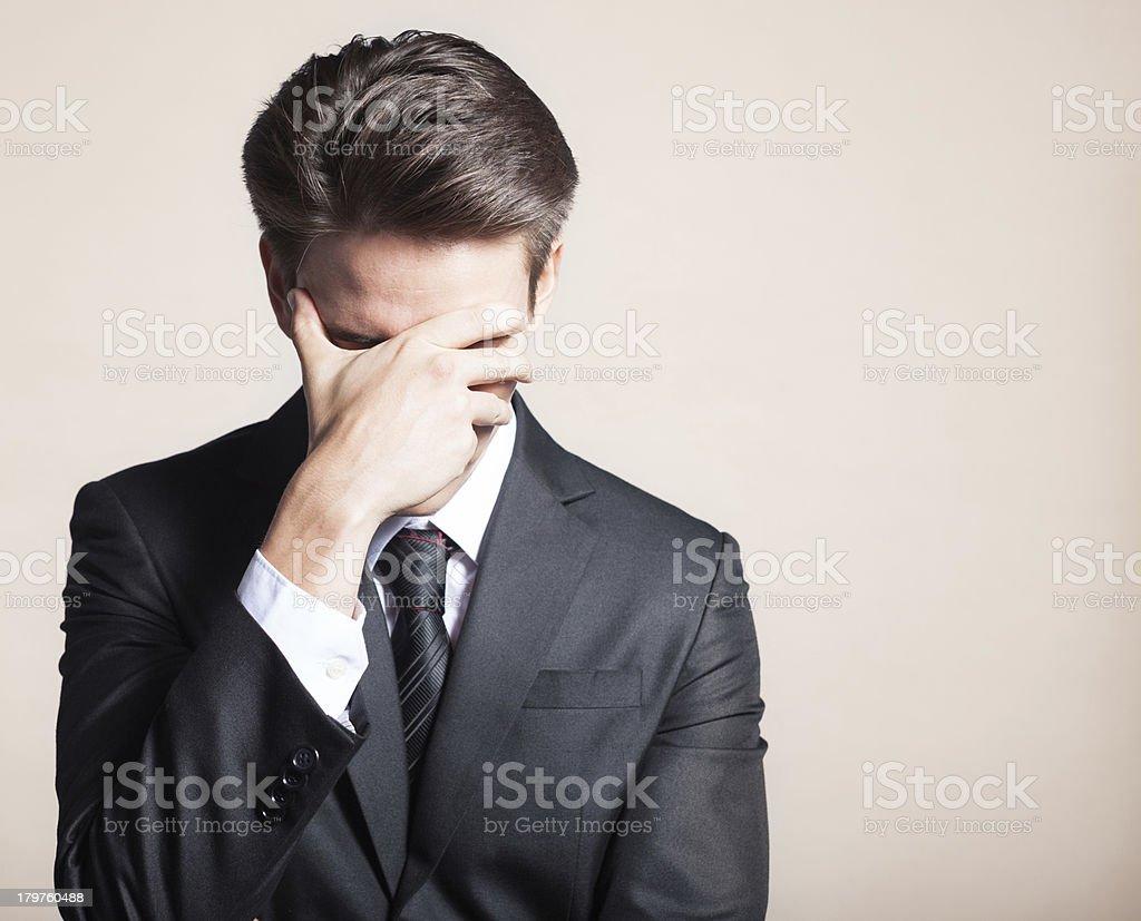 Portrait of sad, depressed man stock photo
