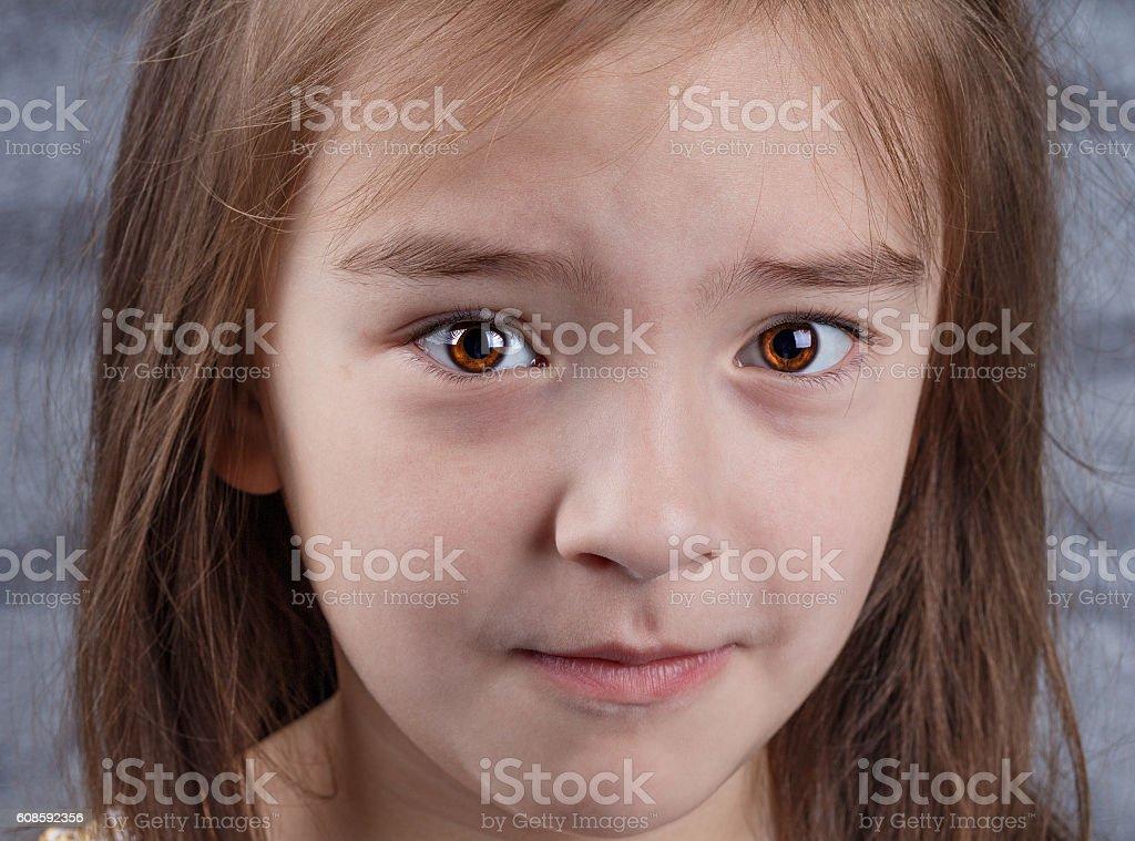portrait of sad girl stock photo