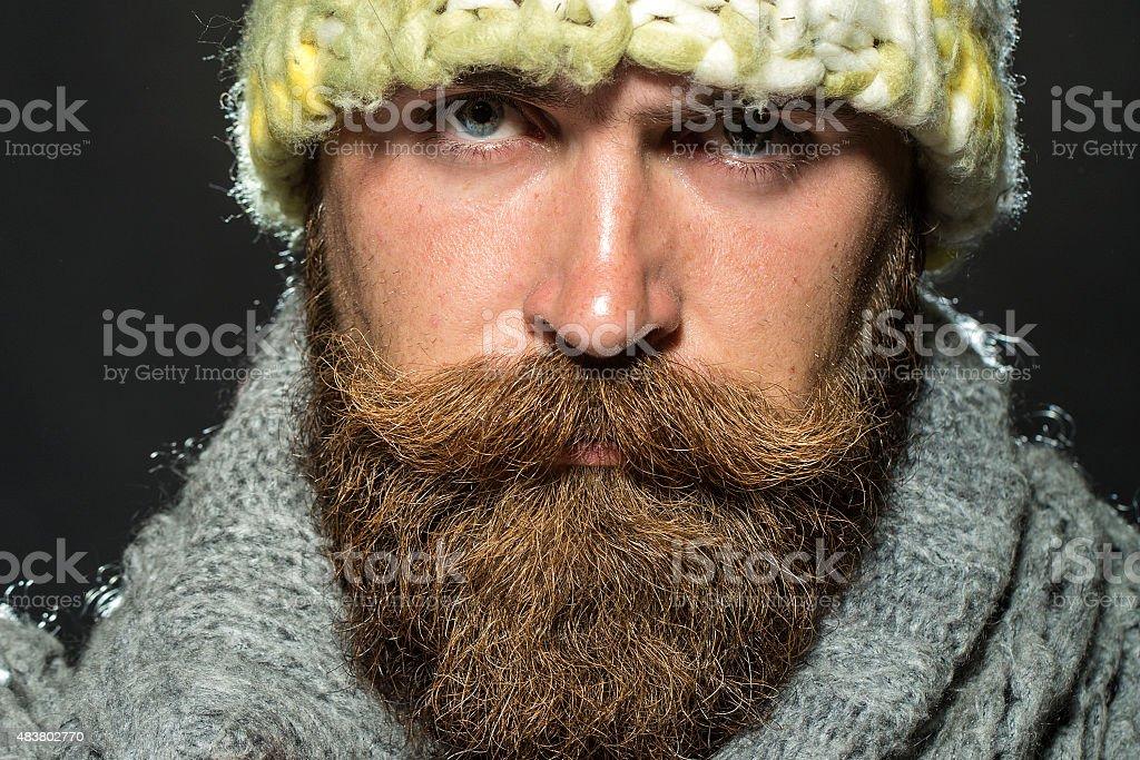 Portrait of sad homeless man stock photo