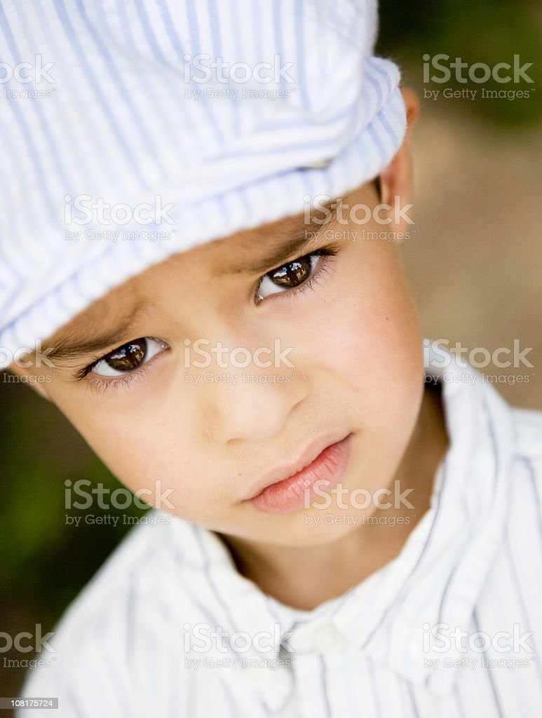 Portrait of Sad Little Boy stock photo