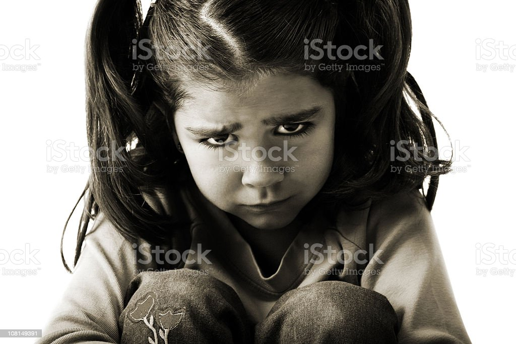 Portrait of Sad Little Girl, Black and White royalty-free stock photo