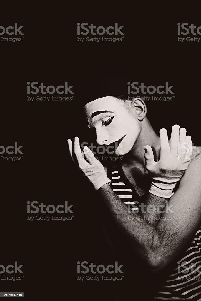 Portrait of sad mime stock photo