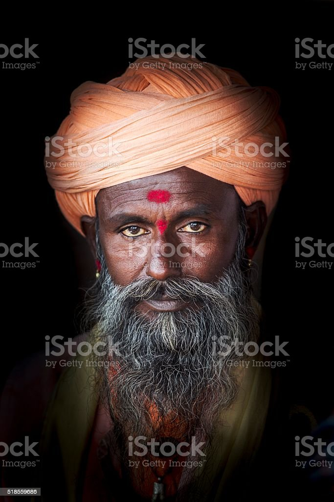 Portrait of Sadhu, India stock photo