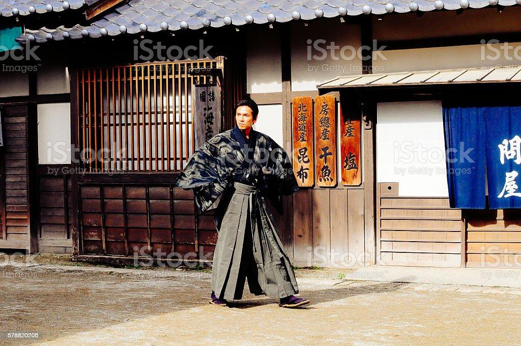 Portrait of samurai in traditional Japanese village stock photo