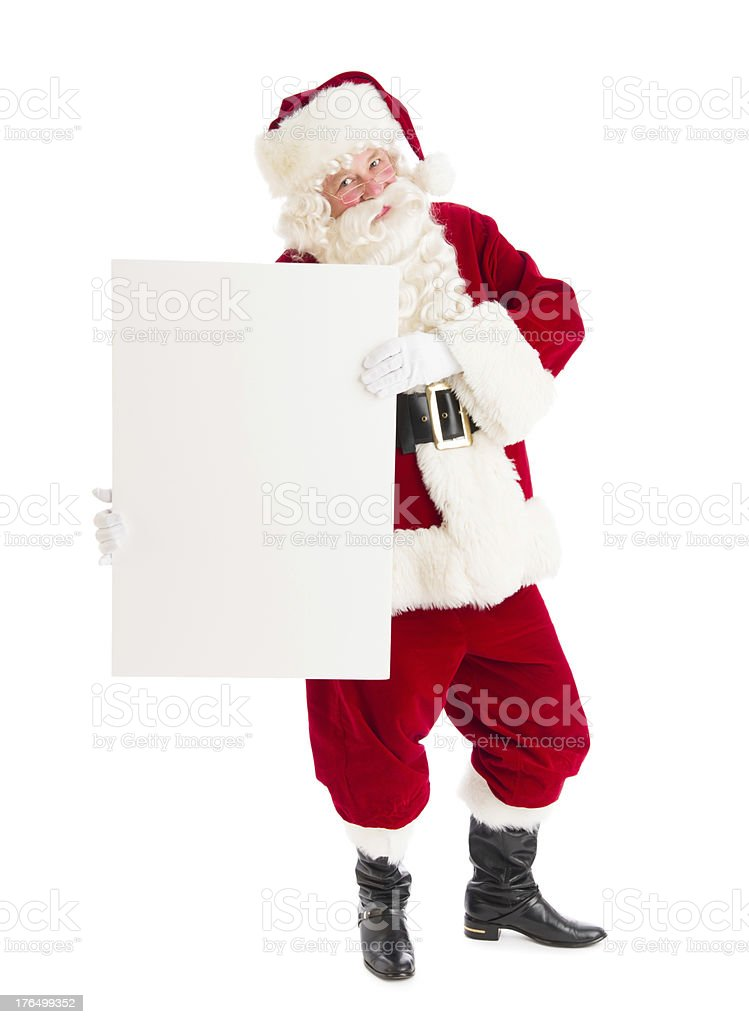 Portrait Of Santa Claus Holding Blank Banner royalty-free stock photo