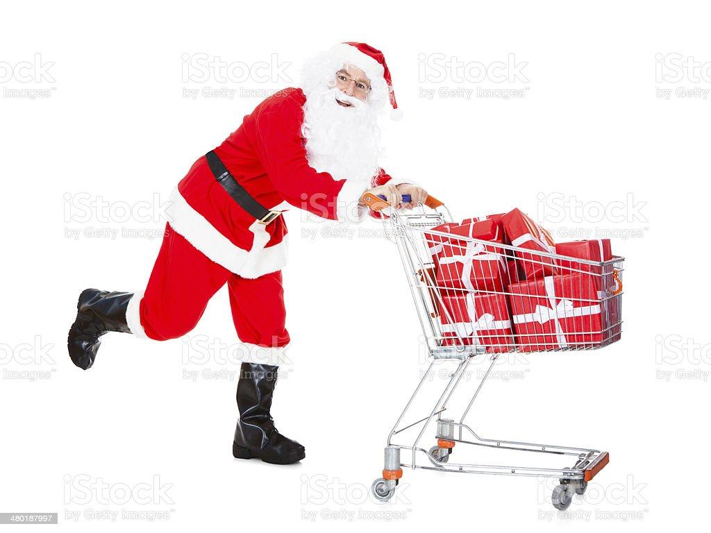 Retrato de santa sosteniendo cesta de compras - foto de stock