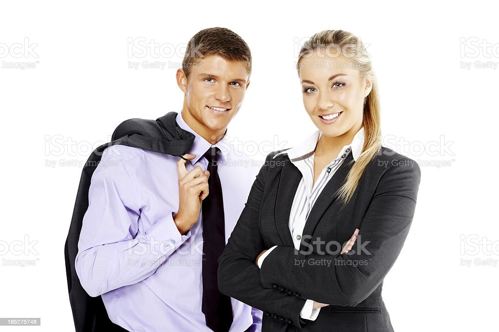 Portrait of satisfied business partners on white royalty-free stock photo