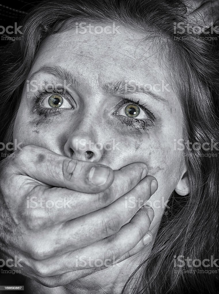 Portrait of scared woman with tears. royalty-free stock photo