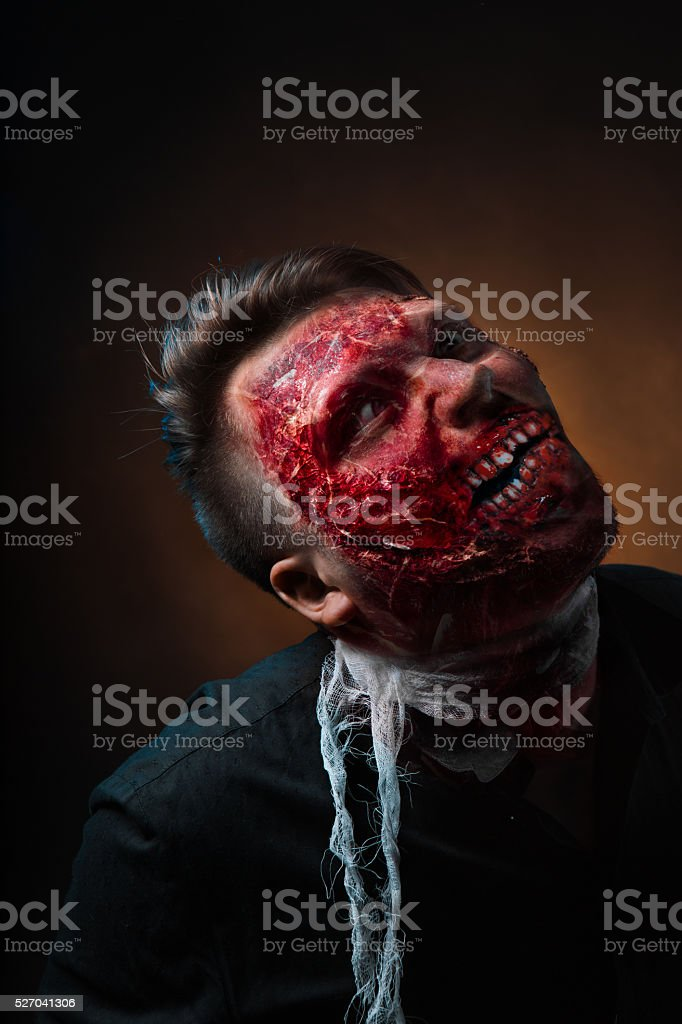 portrait of scary bad zombie at night stock photo