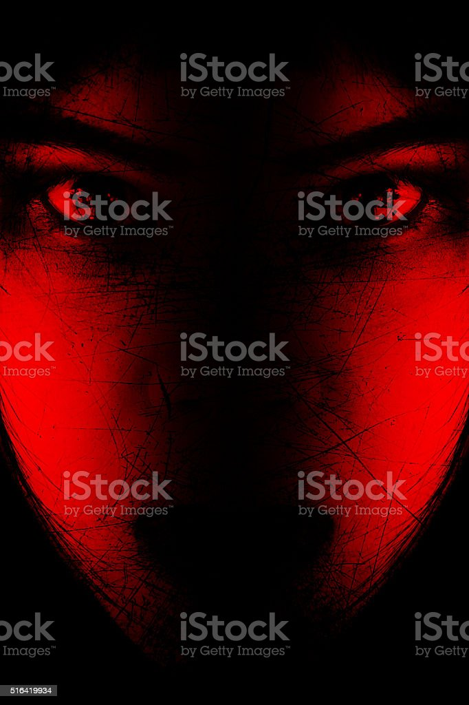 Portrait of scary girl staring at cameras stock photo