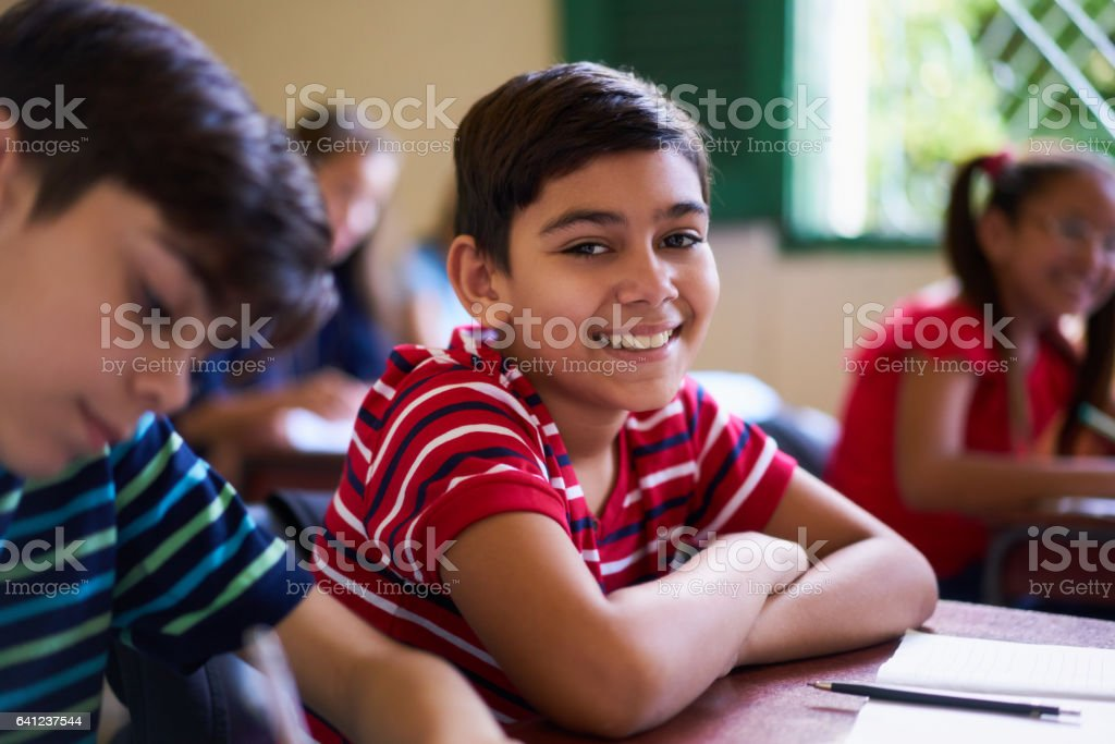 Portrait Of School Boy Looking At Camera In Class stock photo