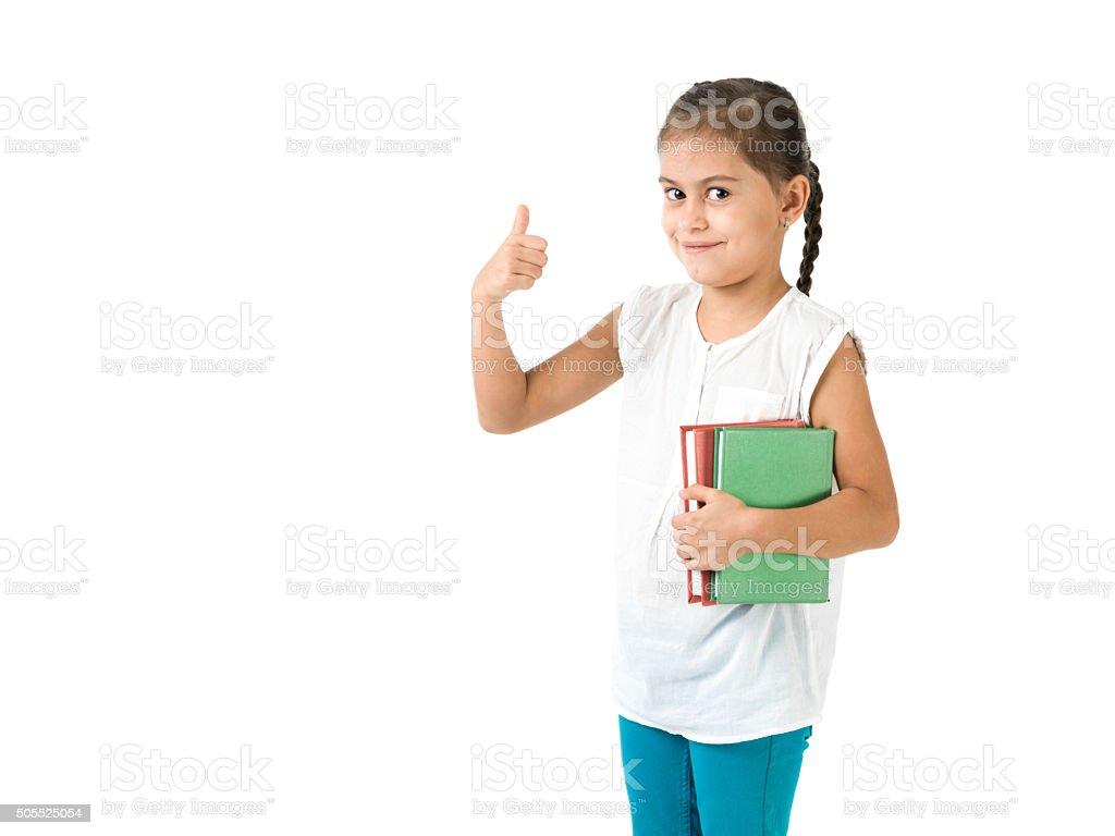 Portrait of schoolgirl posing on white background stock photo