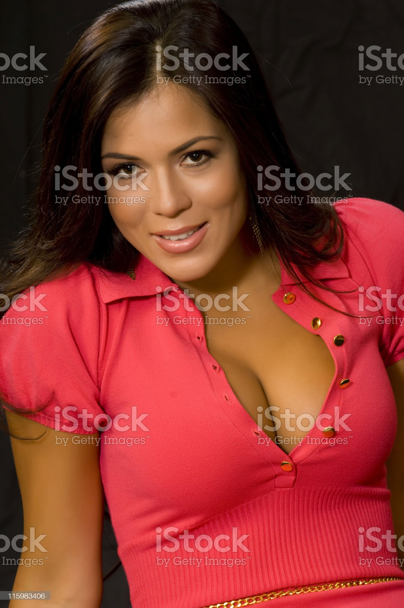Portrait of seductive woman with low cut blouse. royalty-free stock photo