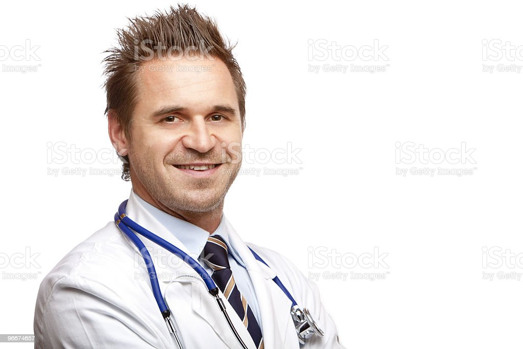 Portrait of self confident smiling male doctor looking at camera royalty-free stock photo