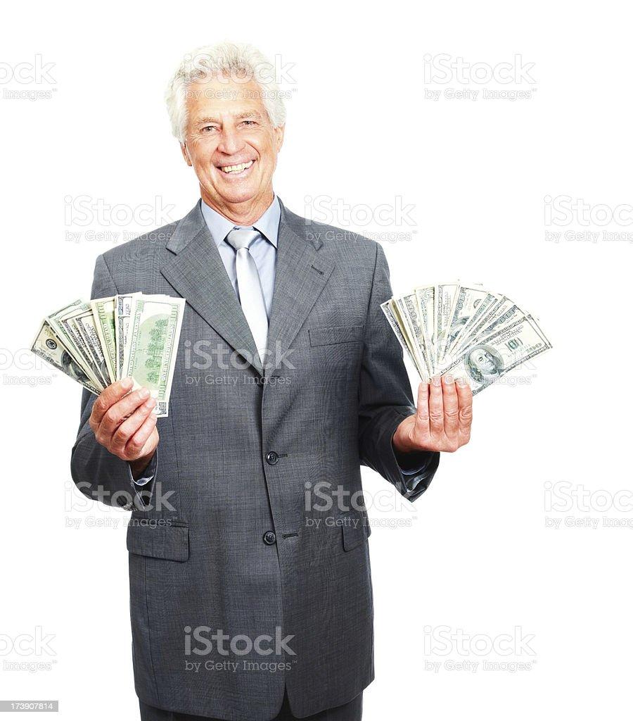 Portrait of senior business man holding cash royalty-free stock photo